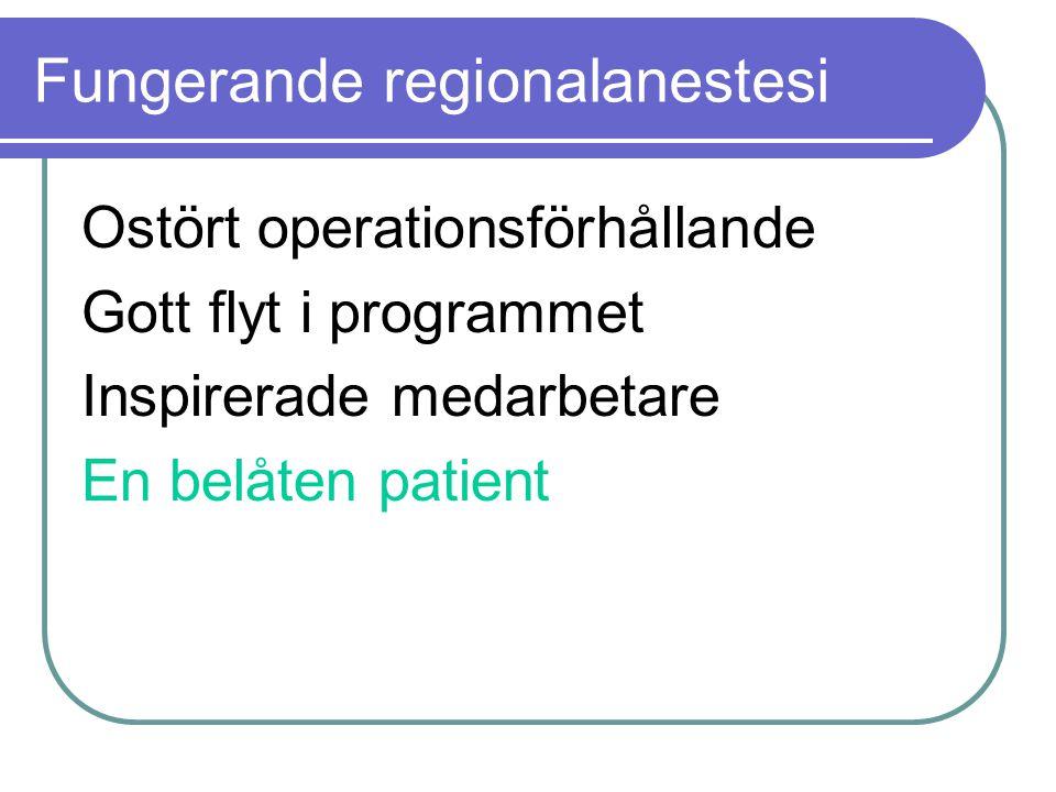 Fungerande regionalanestesi Ostört operationsförhållande Gott flyt i programmet Inspirerade medarbetare En belåten patient