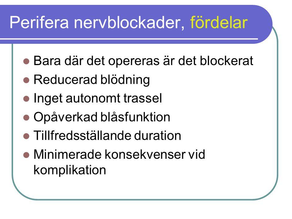Perifera nervblockader, fördelar  Bara där det opereras är det blockerat  Reducerad blödning  Inget autonomt trassel  Opåverkad blåsfunktion  Tillfredsställande duration  Minimerade konsekvenser vid komplikation