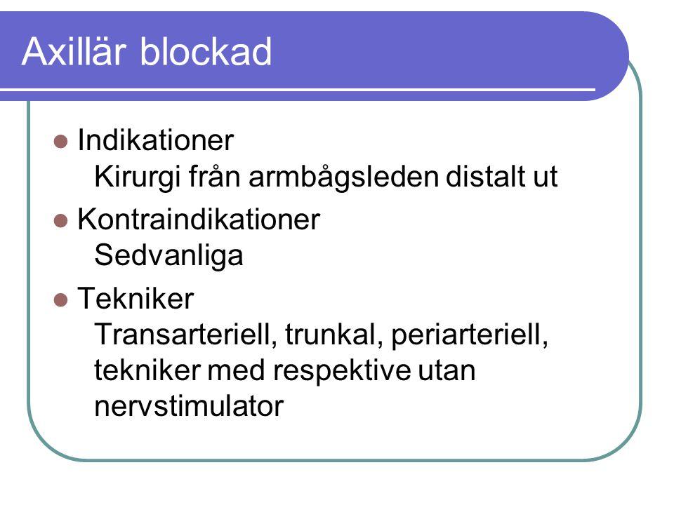 Axillär blockad  Indikationer Kirurgi från armbågsleden distalt ut  Kontraindikationer Sedvanliga  Tekniker Transarteriell, trunkal, periarteriell, tekniker med respektive utan nervstimulator