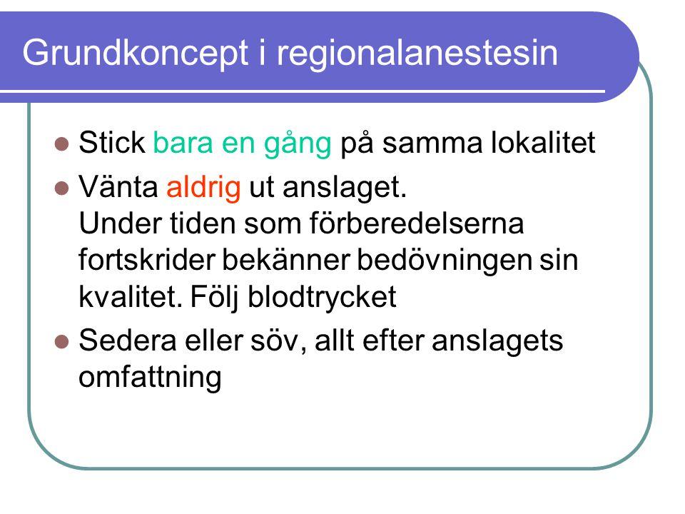 Grundkoncept i regionalanestesin  Stick bara en gång på samma lokalitet  Vänta aldrig ut anslaget.