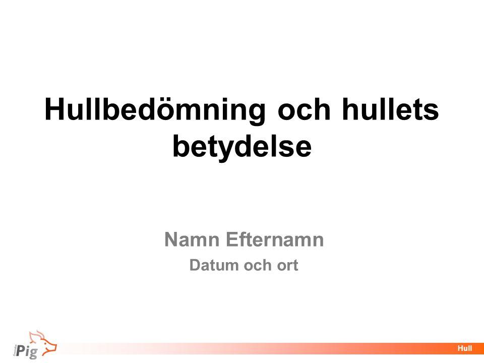 Föreläsningsrubrik / temaHull Hullbedömning och hullets betydelse Namn Efternamn Datum och ort