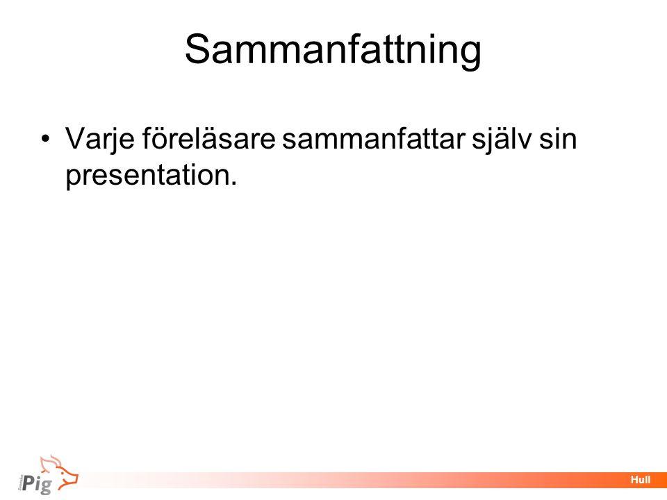 Föreläsningsrubrik / temaHull Sammanfattning •Varje föreläsare sammanfattar själv sin presentation.