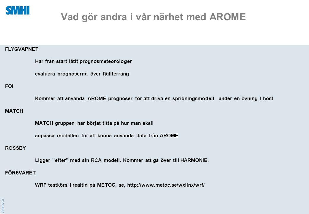 2014-06-23 Vad gör andra i vår närhet med AROME FLYGVAPNET Har från start låtit prognosmeteorologer evaluera prognoserna över fjällterräng FOI Kommer