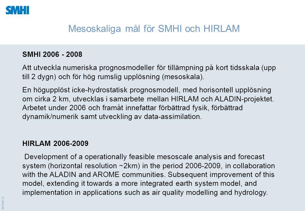 2014-06-23 Mesoskaliga mål för SMHI och HIRLAM SMHI 2006 - 2008 Att utveckla numeriska prognosmodeller för tillämpning på kort tidsskala (upp till 2 d