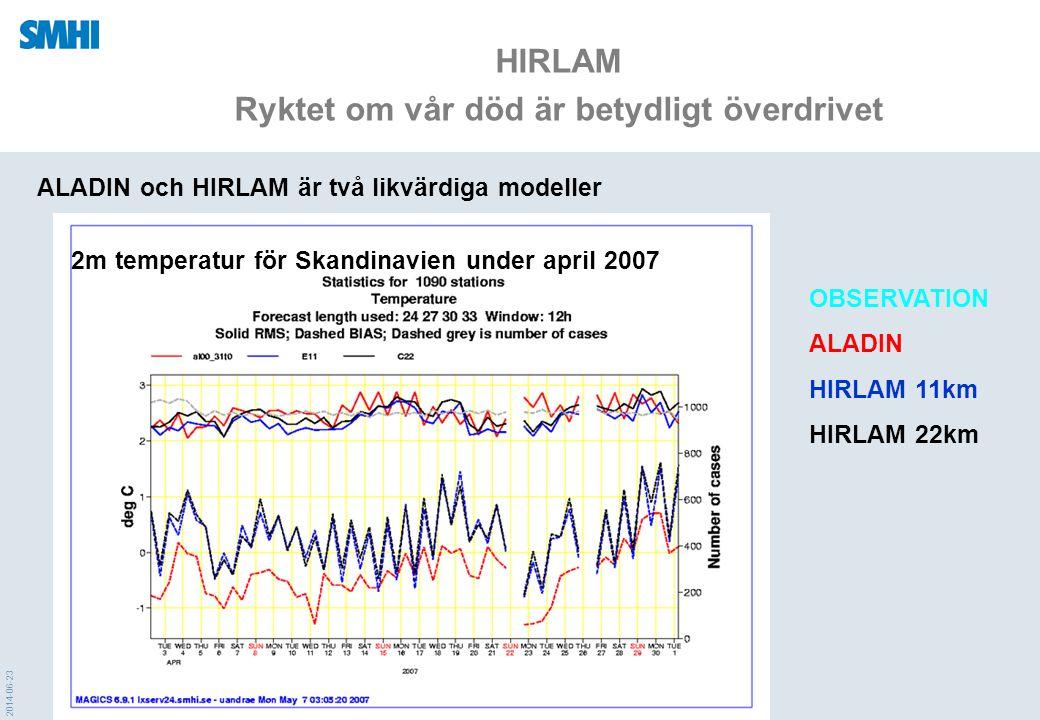 2014-06-23 HIRLAM Ryktet om vår död är betydligt överdrivet ALADIN och HIRLAM är två likvärdiga modeller 10 m vind för Skandinavien under april 2007 OBSERVATION ALADIN HIRLAM 11km HIRLAM 22km