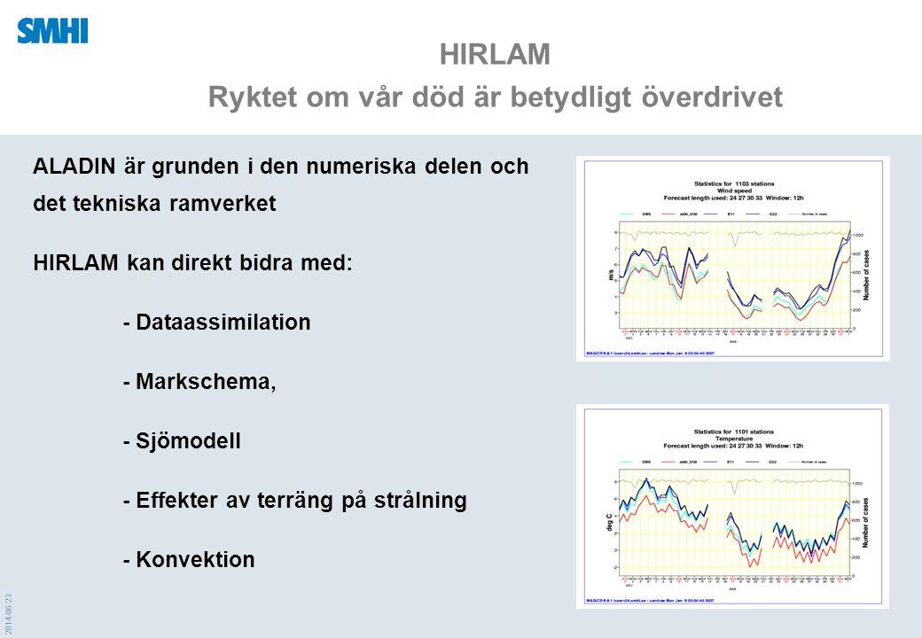 2014-06-23 HIRLAM Ryktet om vår död är betydligt överdrivet ALADIN är grunden i den numeriska delen och det tekniska ramverket HIRLAM kan direkt bidra