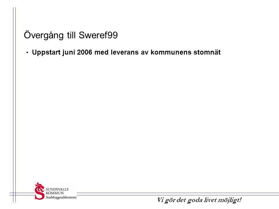 Övergång till Sweref99 • Uppstart juni 2006 med leverans av kommunens stomnät