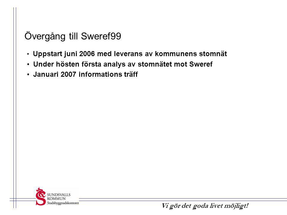 Vi gör det goda livet möjligt! Övergång till Sweref99 • Uppstart juni 2006 med leverans av kommunens stomnät • Under hösten första analys av stomnätet