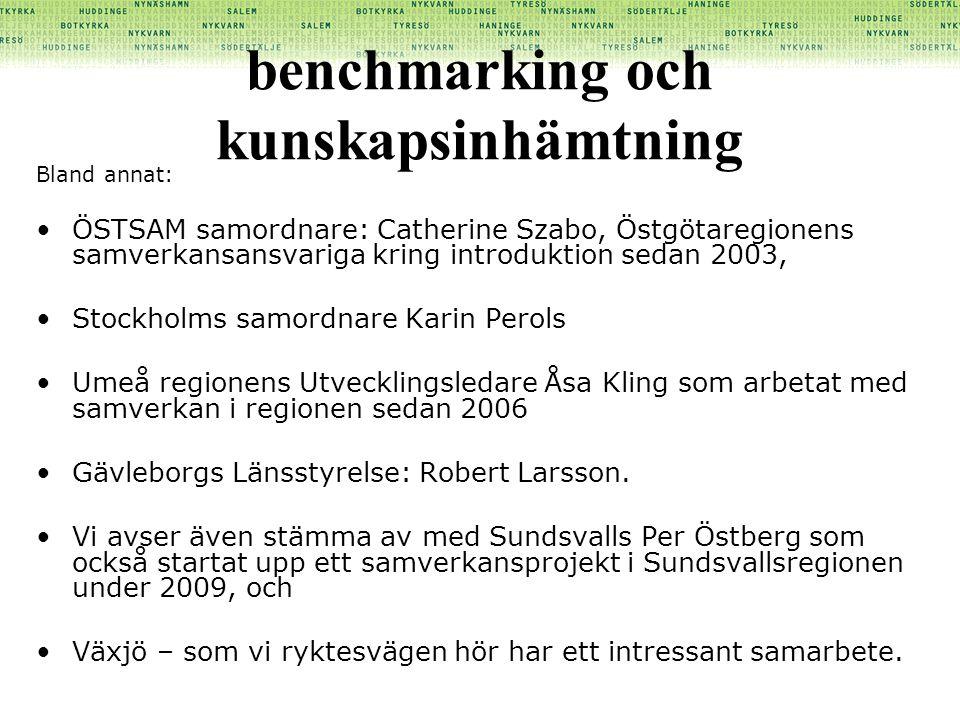 benchmarking och kunskapsinhämtning Bland annat: •ÖSTSAM samordnare: Catherine Szabo, Östgötaregionens samverkansansvariga kring introduktion sedan 20