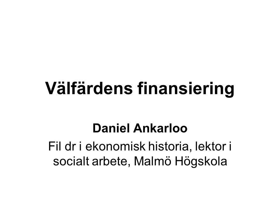 Välfärdens finansiering Daniel Ankarloo Fil dr i ekonomisk historia, lektor i socialt arbete, Malmö Högskola