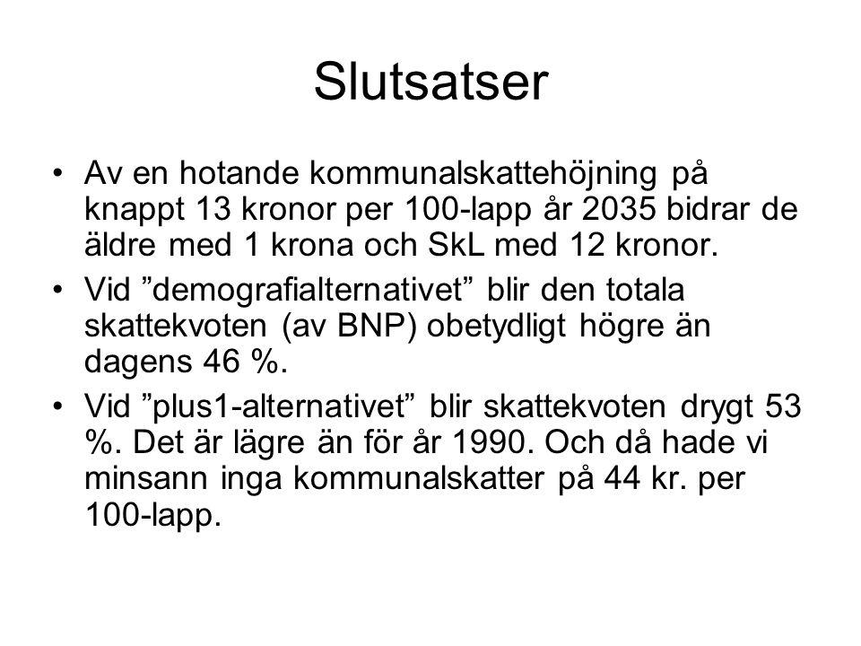 """Slutsatser •Av en hotande kommunalskattehöjning på knappt 13 kronor per 100-lapp år 2035 bidrar de äldre med 1 krona och SkL med 12 kronor. •Vid """"demo"""