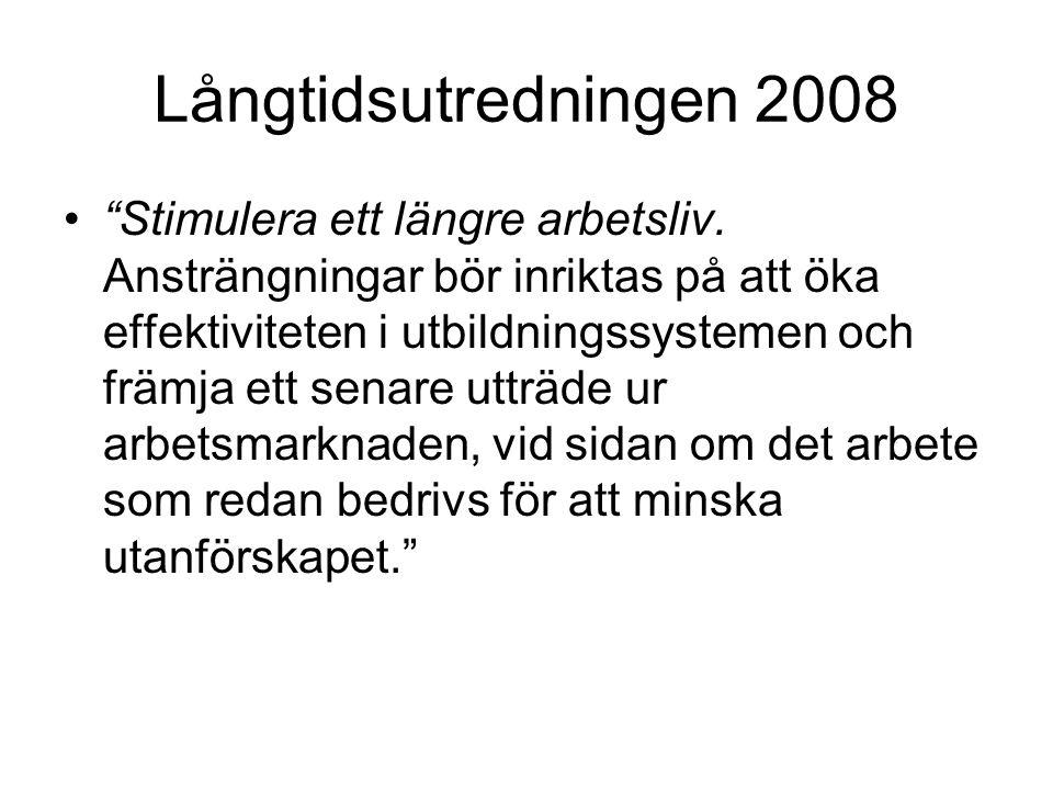 Långtidsutredningen 2008 • Stimulera ett längre arbetsliv.