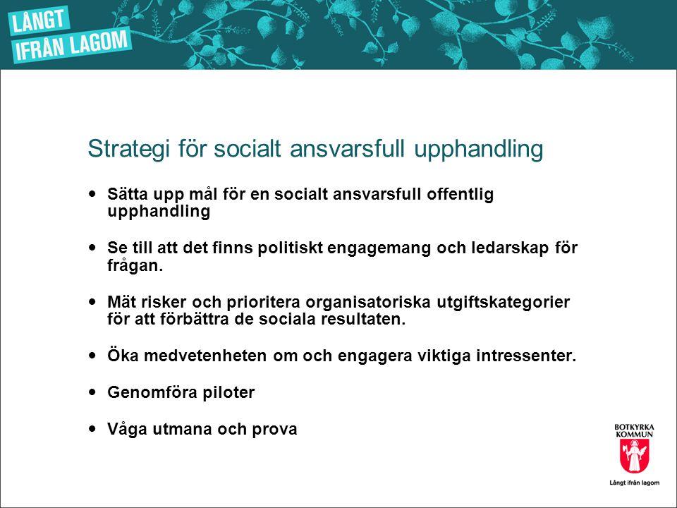 Strategi för socialt ansvarsfull upphandling  Sätta upp mål för en socialt ansvarsfull offentlig upphandling  Se till att det finns politiskt engage
