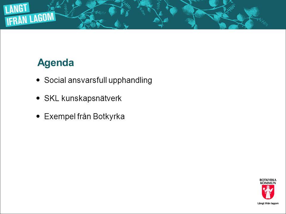 Agenda  Social ansvarsfull upphandling  SKL kunskapsnätverk  Exempel från Botkyrka