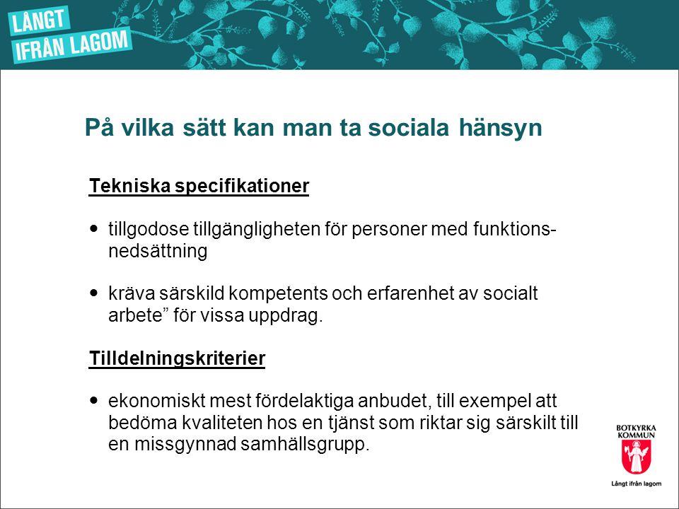På vilka sätt kan man ta sociala hänsyn Tekniska specifikationer  tillgodose tillgängligheten för personer med funktions- nedsättning  kräva särskil