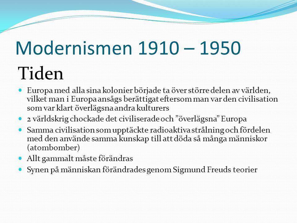 Modernismen 1910 – 1950 Tiden  Europa med alla sina kolonier började ta över större delen av världen, vilket man i Europa ansågs berättigat eftersom