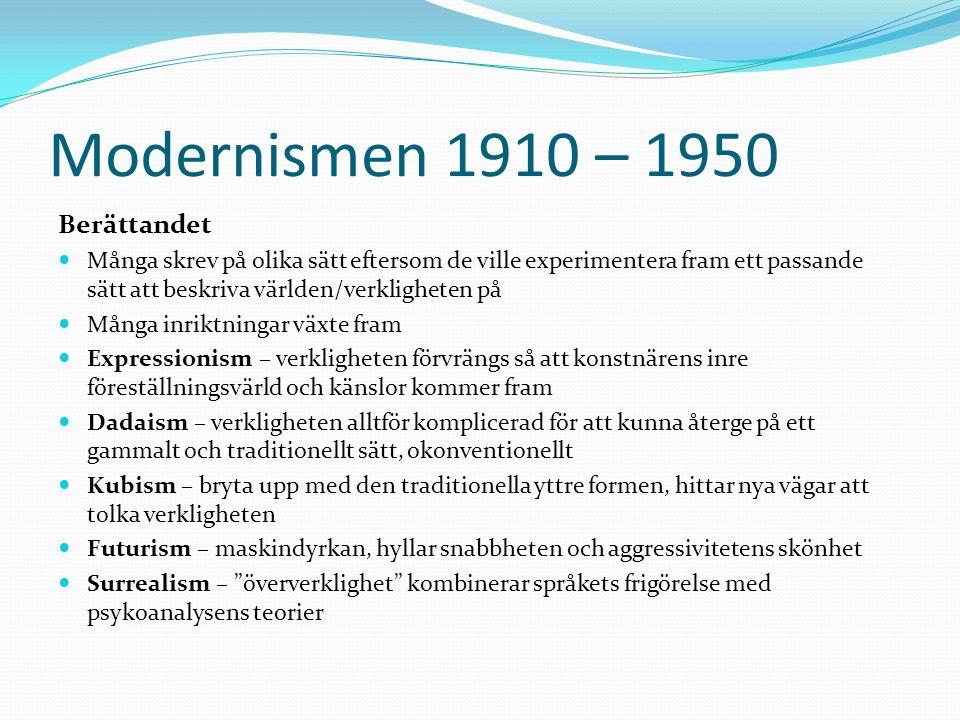 Modernismen 1910 – 1950 Berättandet  Många skrev på olika sätt eftersom de ville experimentera fram ett passande sätt att beskriva världen/verklighet