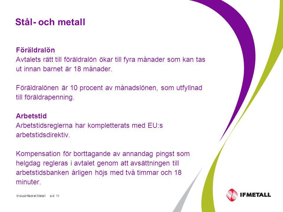 Industrifacket Metall sid 11 Stål- och metall Föräldralön Avtalets rätt till föräldralön ökar till fyra månader som kan tas ut innan barnet är 18 månader.