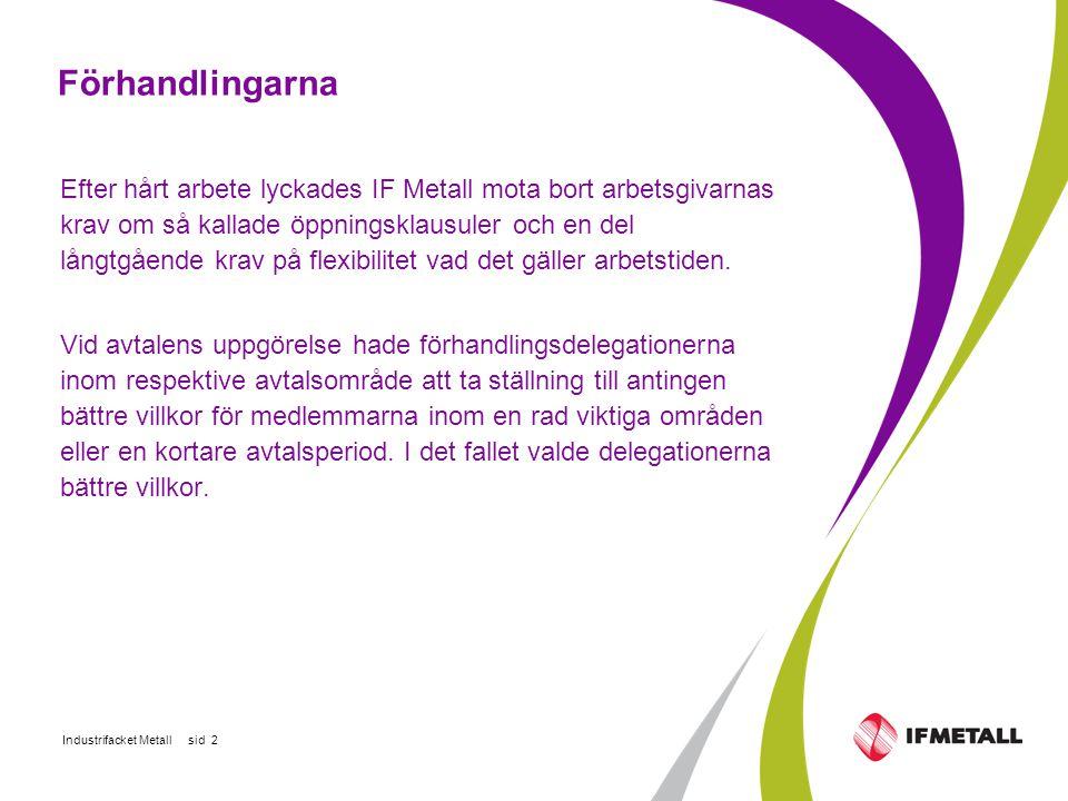 Industrifacket Metall sid 2 Förhandlingarna Efter hårt arbete lyckades IF Metall mota bort arbetsgivarnas krav om så kallade öppningsklausuler och en del långtgående krav på flexibilitet vad det gäller arbetstiden.