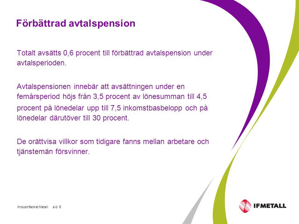 Industrifacket Metall sid 6 Förbättrad avtalspension Totalt avsätts 0,6 procent till förbättrad avtalspension under avtalsperioden.