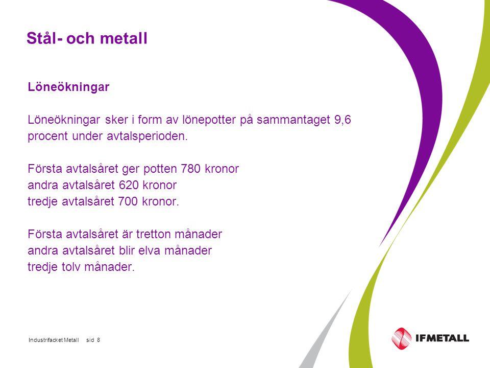 Industrifacket Metall sid 8 Stål- och metall Löneökningar Löneökningar sker i form av lönepotter på sammantaget 9,6 procent under avtalsperioden.