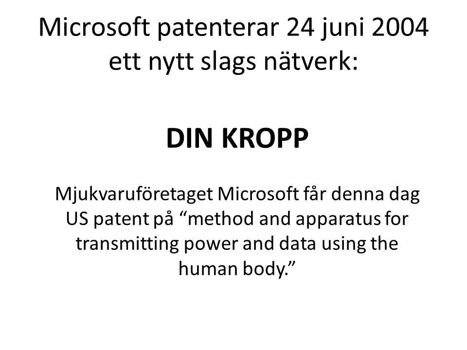 """Microsoft patenterar 24 juni 2004 ett nytt slags nätverk: DIN KROPP Mjukvaruföretaget Microsoft får denna dag US patent på """"method and apparatus for t"""