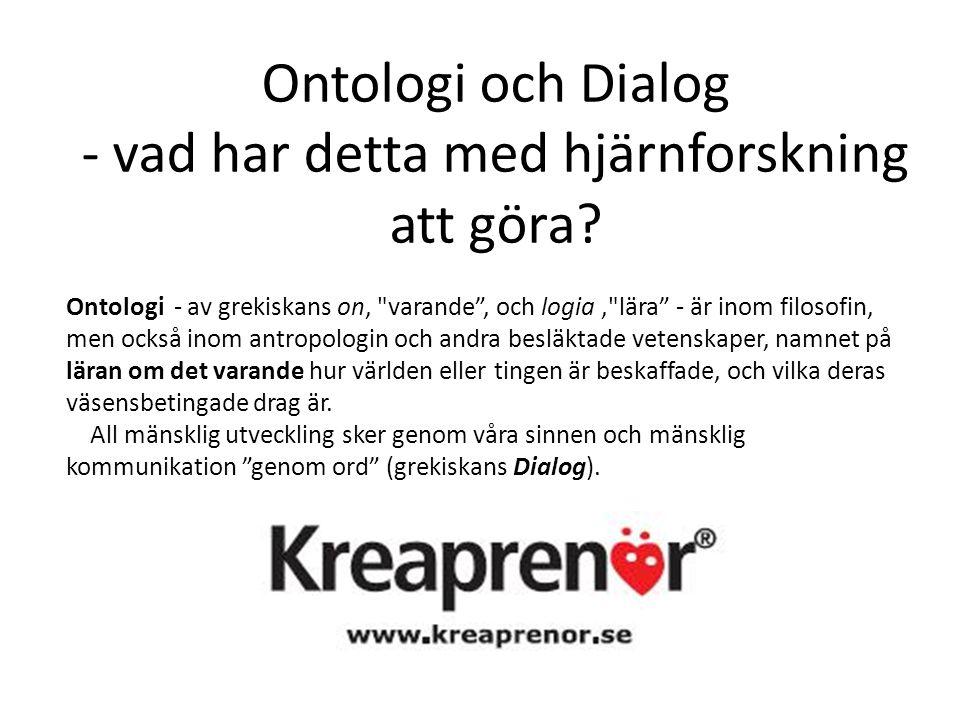 Ontologi och Dialog - vad har detta med hjärnforskning att göra? Ontologi - av grekiskans on,