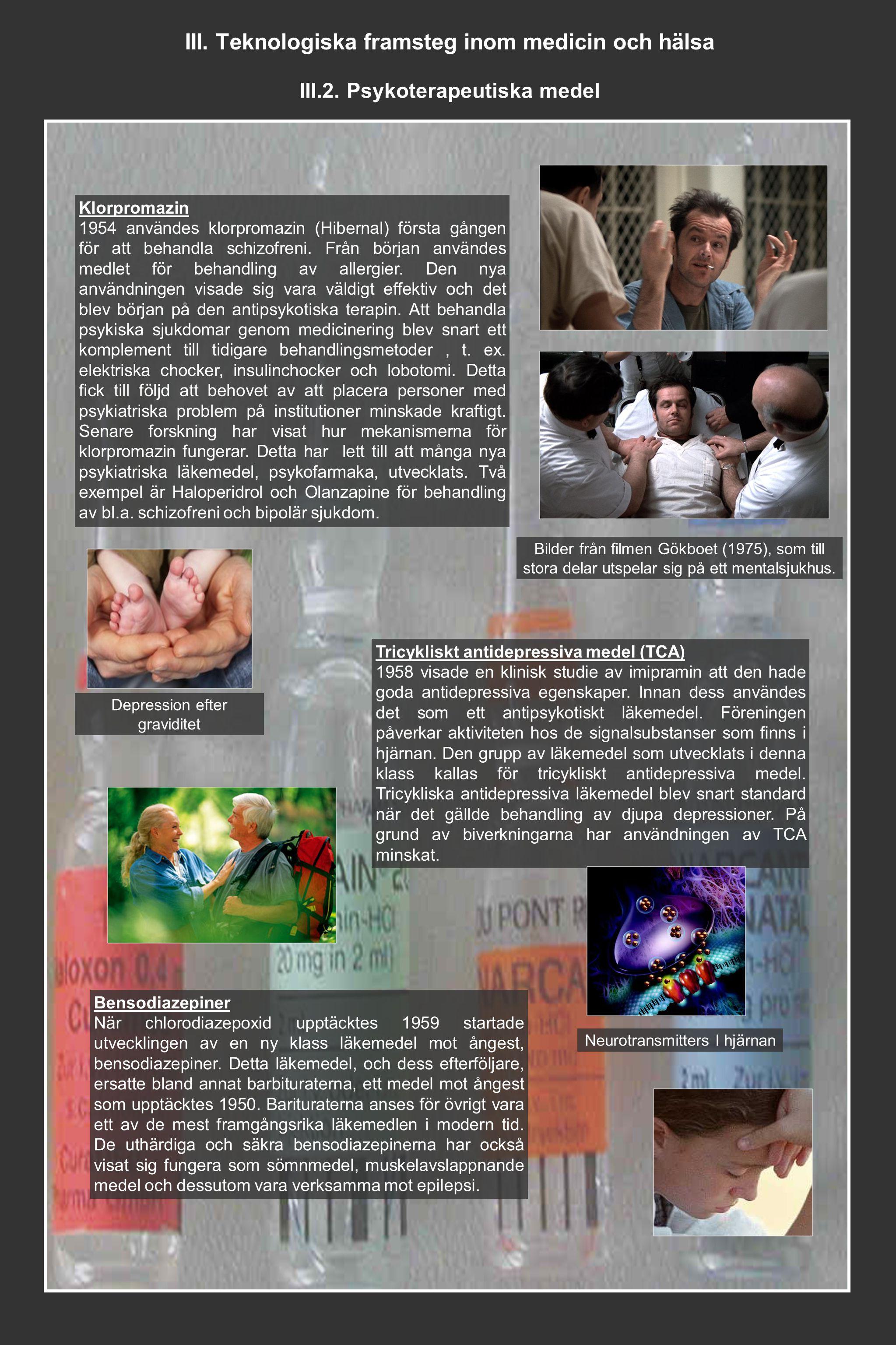 III. Teknologiska framsteg inom medicin och hälsa III.2. Psykoterapeutiska medel Klorpromazin 1954 användes klorpromazin (Hibernal) första gången för