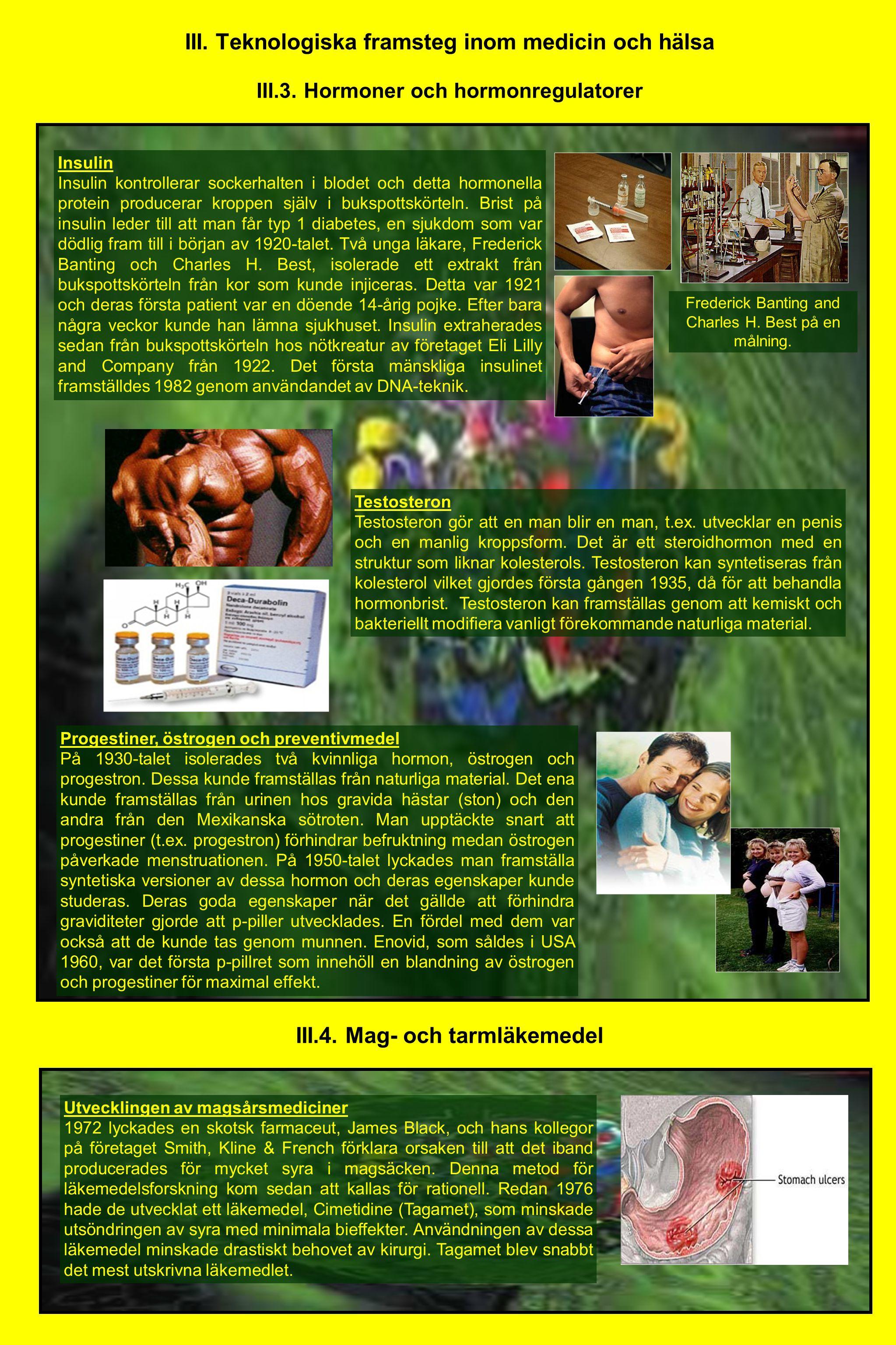 III. Teknologiska framsteg inom medicin och hälsa III.3. Hormoner och hormonregulatorer Insulin Insulin kontrollerar sockerhalten i blodet och detta h