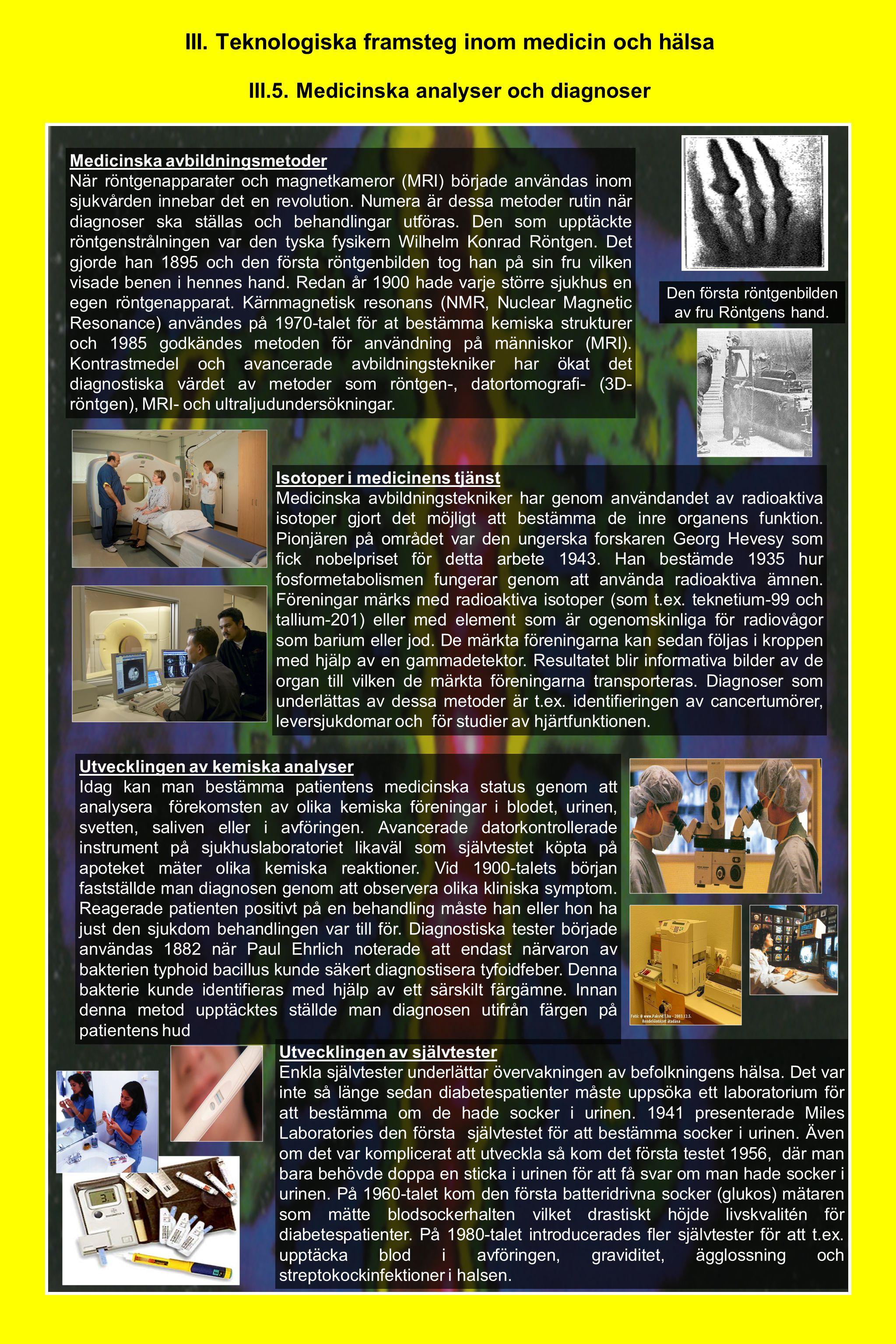 III. Teknologiska framsteg inom medicin och hälsa III.5. Medicinska analyser och diagnoser Medicinska avbildningsmetoder När röntgenapparater och magn