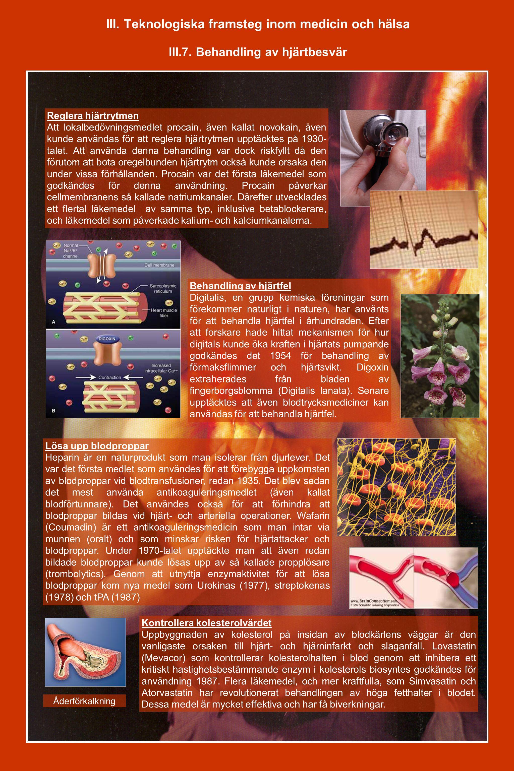 III. Teknologiska framsteg inom medicin och hälsa III.7. Behandling av hjärtbesvär Reglera hjärtrytmen Att lokalbedövningsmedlet procain, även kallat