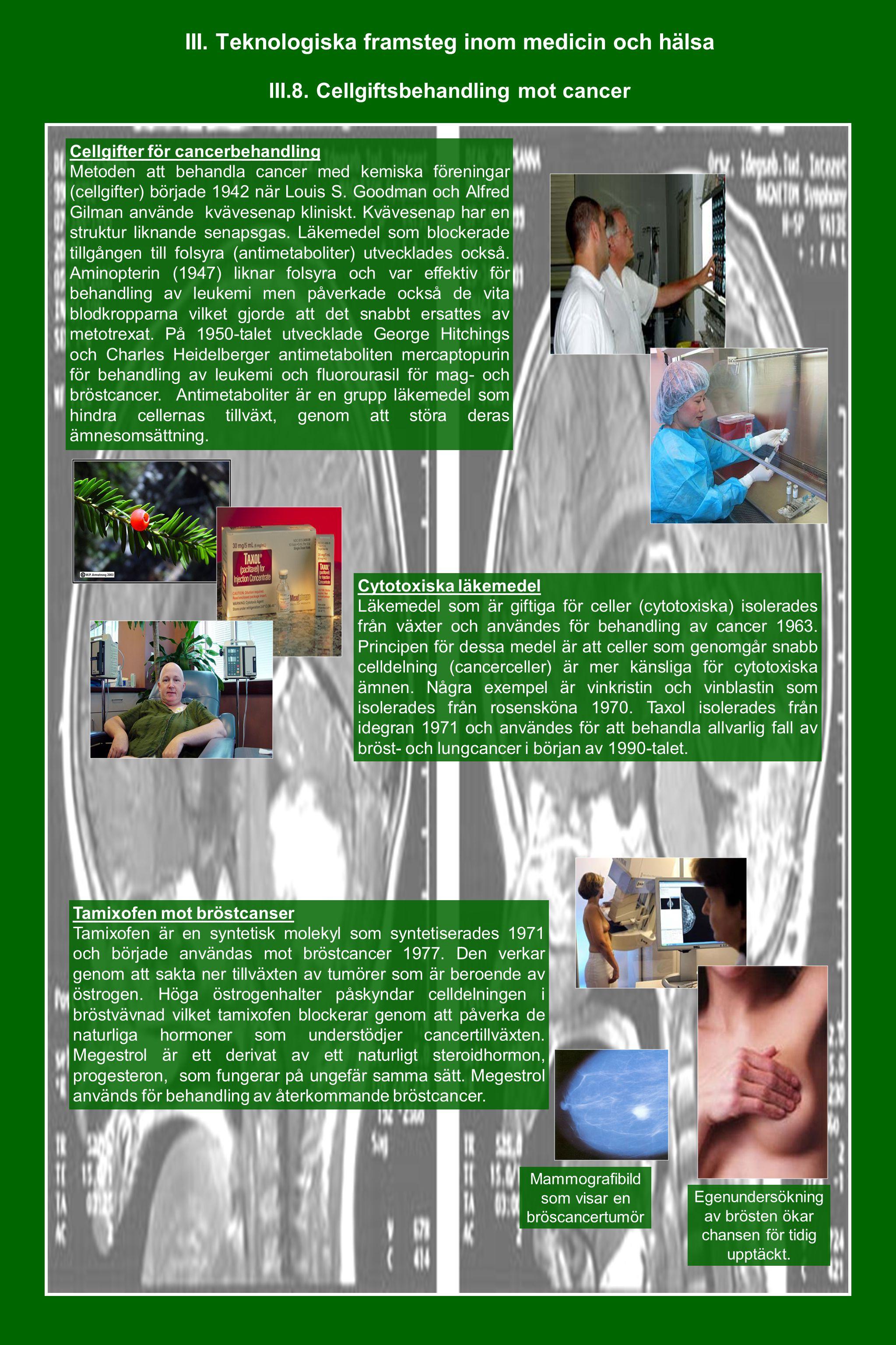 III. Teknologiska framsteg inom medicin och hälsa III.8. Cellgiftsbehandling mot cancer Cellgifter för cancerbehandling Metoden att behandla cancer me