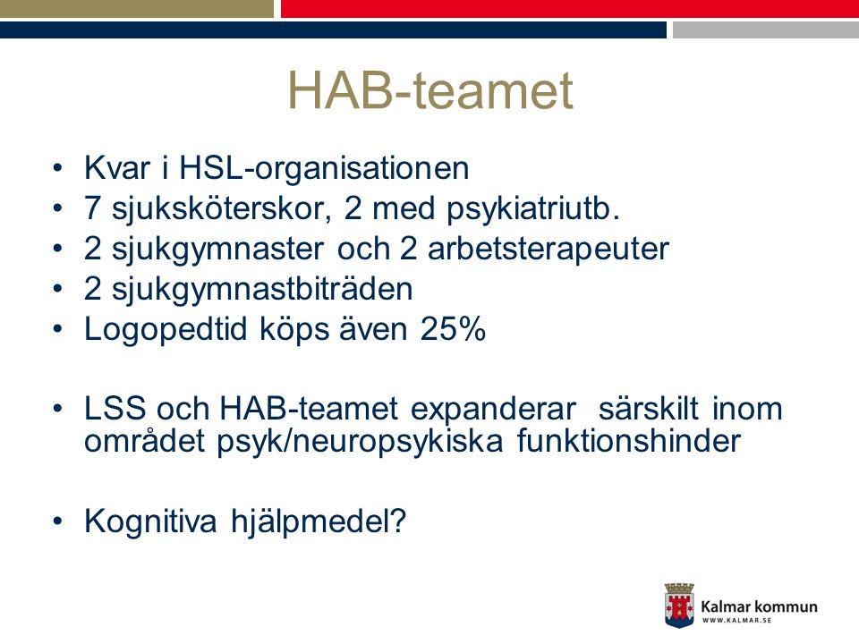 HAB-teamet •Kvar i HSL-organisationen •7 sjuksköterskor, 2 med psykiatriutb. •2 sjukgymnaster och 2 arbetsterapeuter •2 sjukgymnastbiträden •Logopedti