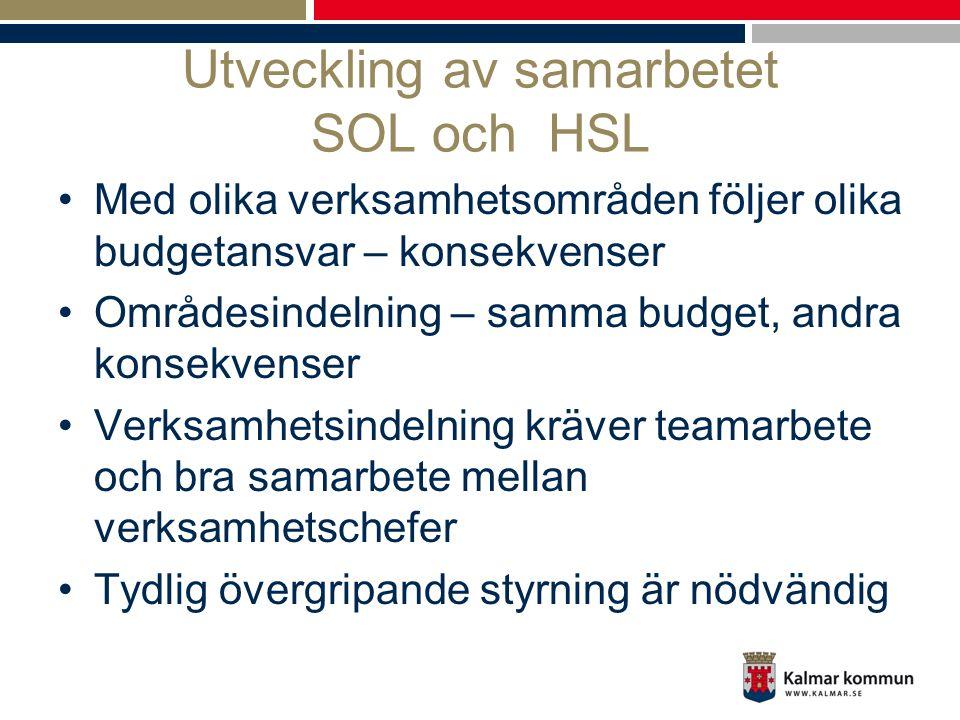 Utveckling av samarbetet SOL och HSL •Med olika verksamhetsområden följer olika budgetansvar – konsekvenser •Områdesindelning – samma budget, andra ko