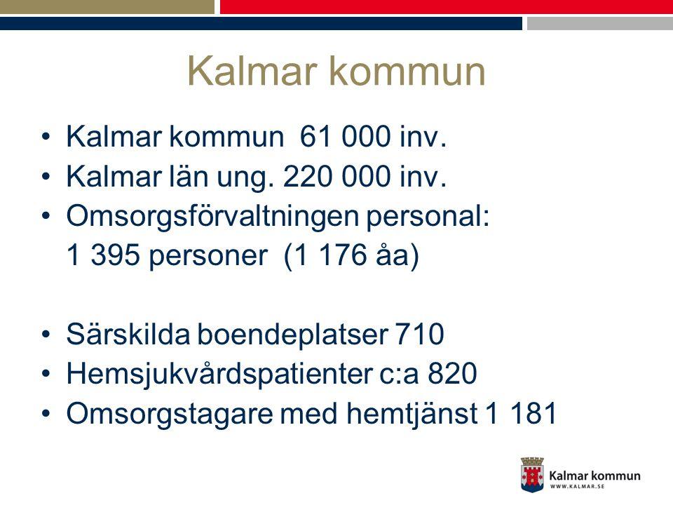 Kalmar kommun •Kalmar kommun 61 000 inv. •Kalmar län ung. 220 000 inv. •Omsorgsförvaltningen personal: 1 395 personer (1 176 åa) •Särskilda boendeplat