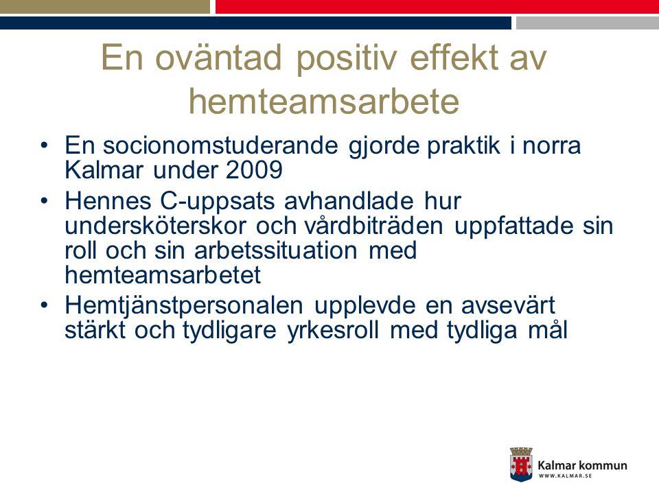 En oväntad positiv effekt av hemteamsarbete •En socionomstuderande gjorde praktik i norra Kalmar under 2009 •Hennes C-uppsats avhandlade hur undersköt