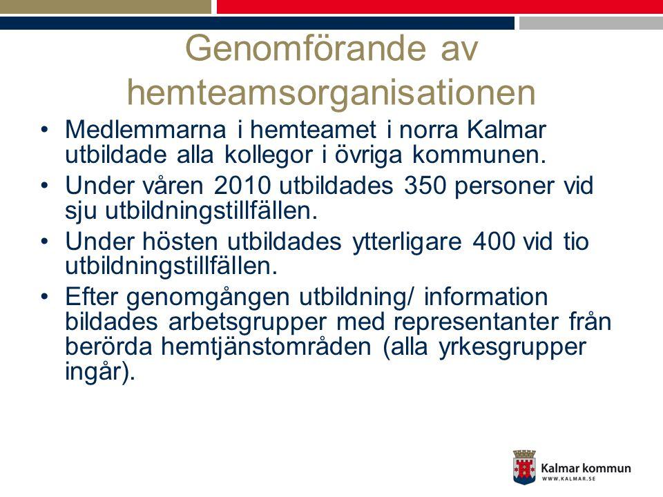 Genomförande av hemteamsorganisationen •Medlemmarna i hemteamet i norra Kalmar utbildade alla kollegor i övriga kommunen. •Under våren 2010 utbildades