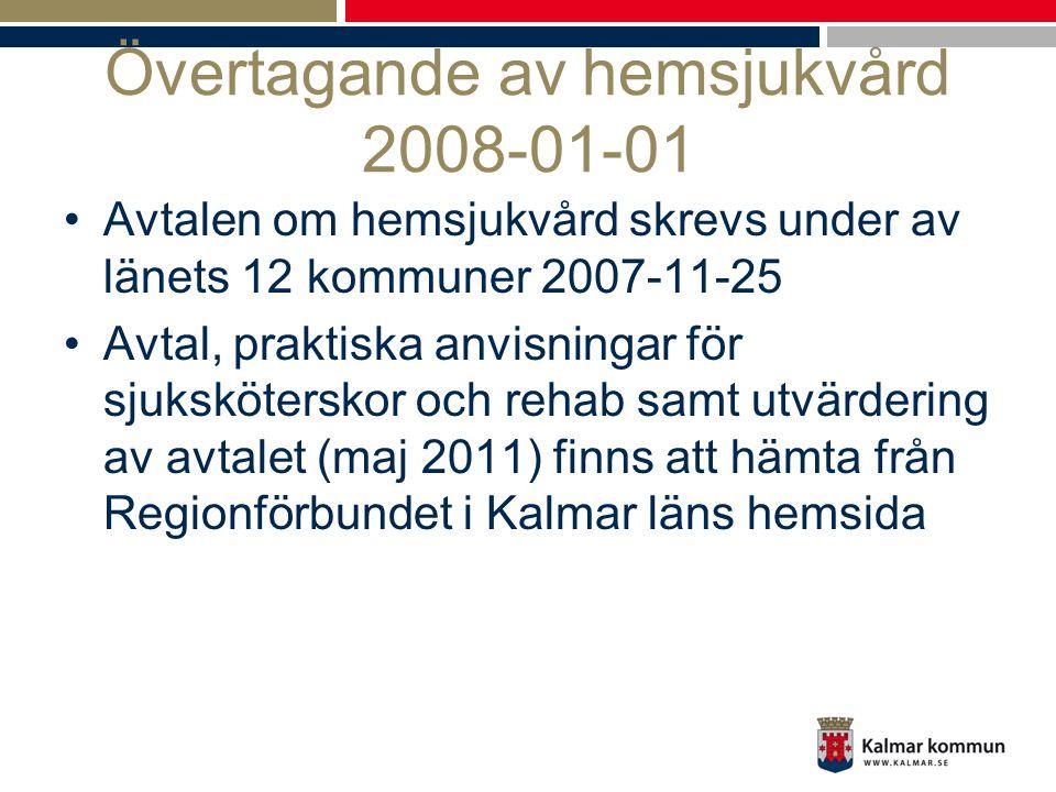 Utvärdering hemsjukvårdsövertagandet •Förvaltningsrevisorernas rapport från 2010 visar att hemsjukvårdsövertagandet inneburit ökad effektivitet och att hemrehabiliteringen medfört en minskad kostnader för kommunens traditionella omsorgsinsatser •Regionförbundet och landstingets utvärdering 2011 inriktade sig på frågeställningar kring hur avtalet fungerar i praktiken