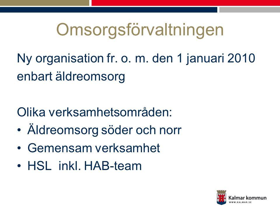 Omsorgsförvaltningen Ny organisation fr. o. m. den 1 januari 2010 enbart äldreomsorg Olika verksamhetsområden: •Äldreomsorg söder och norr •Gemensam v