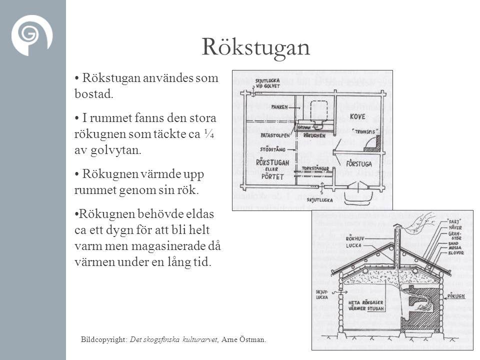 Rökstugan • Rökstugan användes som bostad. • I rummet fanns den stora rökugnen som täckte ca ¼ av golvytan. • Rökugnen värmde upp rummet genom sin rök