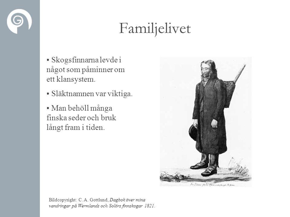 Familjelivet • Skogsfinnarna levde i något som påminner om ett klansystem. • Släktnamnen var viktiga. • Man behöll många finska seder och bruk långt f