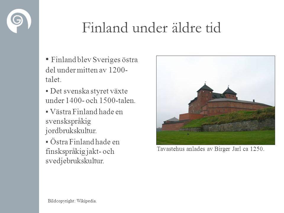 Finland under äldre tid • Finland blev Sveriges östra del under mitten av 1200- talet. • Det svenska styret växte under 1400- och 1500-talen. • Västra