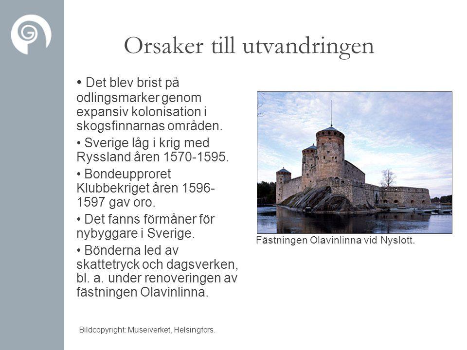 Orsaker till utvandringen • Det blev brist på odlingsmarker genom expansiv kolonisation i skogsfinnarnas områden. • Sverige låg i krig med Ryssland år