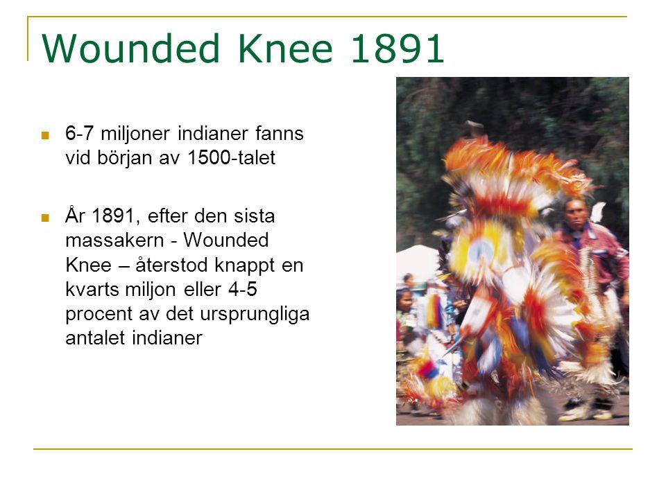 Wounded Knee 1891  6-7 miljoner indianer fanns vid början av 1500-talet  År 1891, efter den sista massakern - Wounded Knee – återstod knappt en kvar