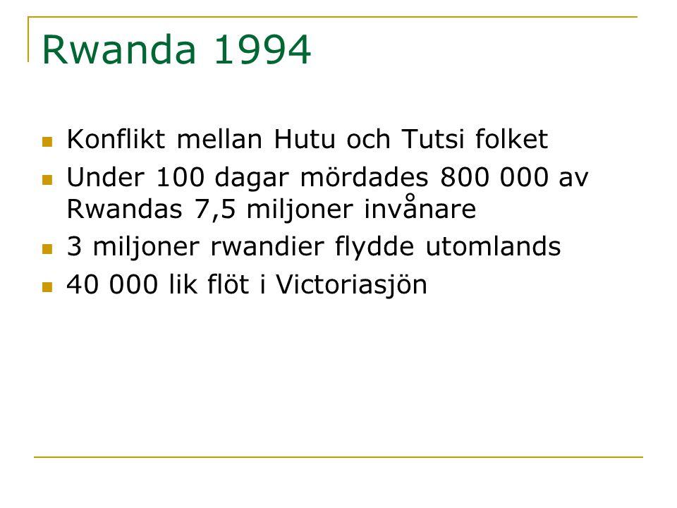 Rwanda 1994  Konflikt mellan Hutu och Tutsi folket  Under 100 dagar mördades 800 000 av Rwandas 7,5 miljoner invånare  3 miljoner rwandier flydde u