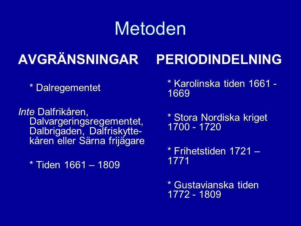 Metoden AVGRÄNSNINGAR * Dalregementet Inte Dalfrikåren, Dalvargeringsregementet, Dalbrigaden, Dalfriskytte- kåren eller Särna frijägare * Tiden 1661 –