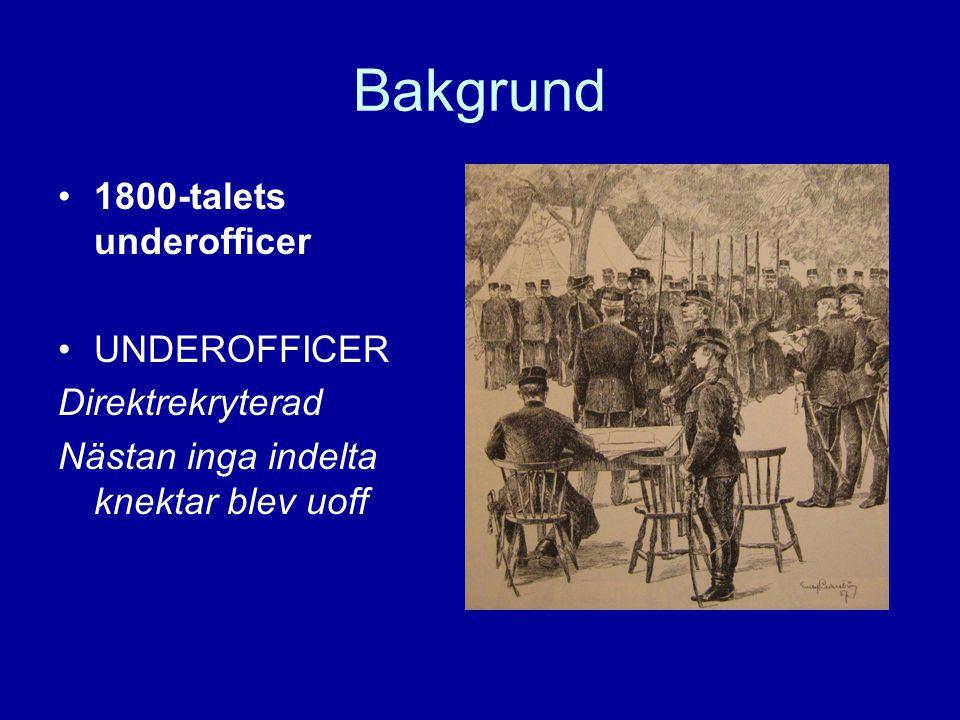 Bakgrund •1800-talets underofficer •UNDEROFFICER Direktrekryterad Nästan inga indelta knektar blev uoff