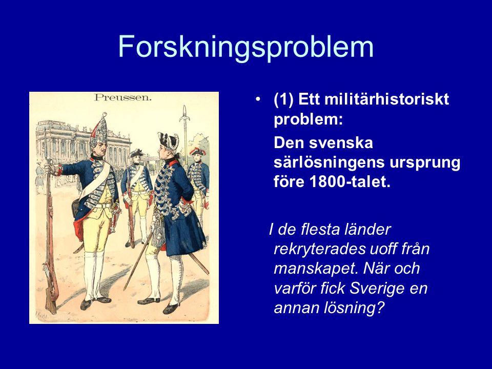 Forskningsproblem •(1) Ett militärhistoriskt problem: Den svenska särlösningens ursprung före 1800-talet. I de flesta länder rekryterades uoff från ma
