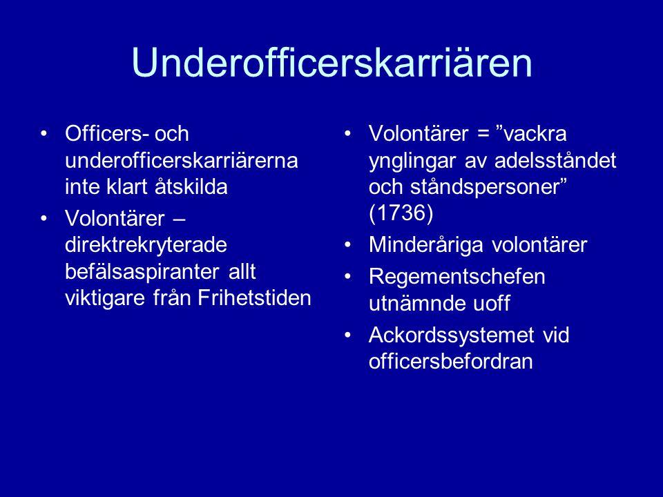Underofficerskarriären •Officers- och underofficerskarriärerna inte klart åtskilda •Volontärer – direktrekryterade befälsaspiranter allt viktigare frå