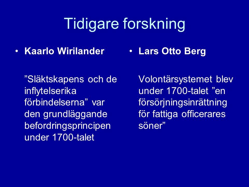 """Tidigare forskning •Kaarlo Wirilander """"Släktskapens och de inflytelserika förbindelserna"""" var den grundläggande befordringsprincipen under 1700-talet"""